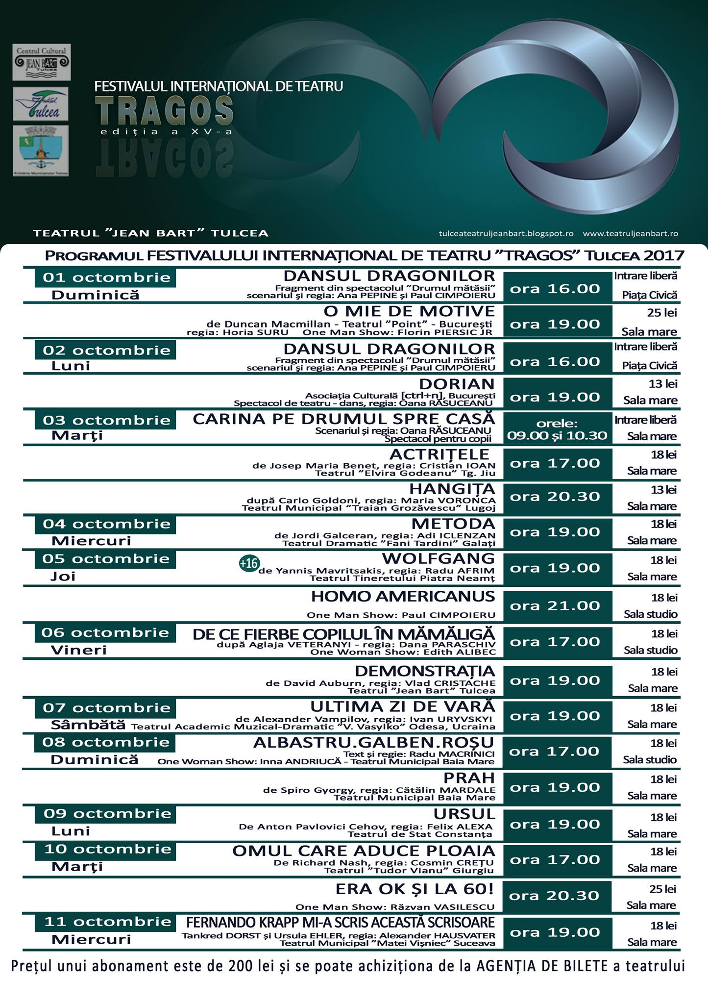 Festivalul Internațional de Teatru TRAGOS, ediția a XV-a