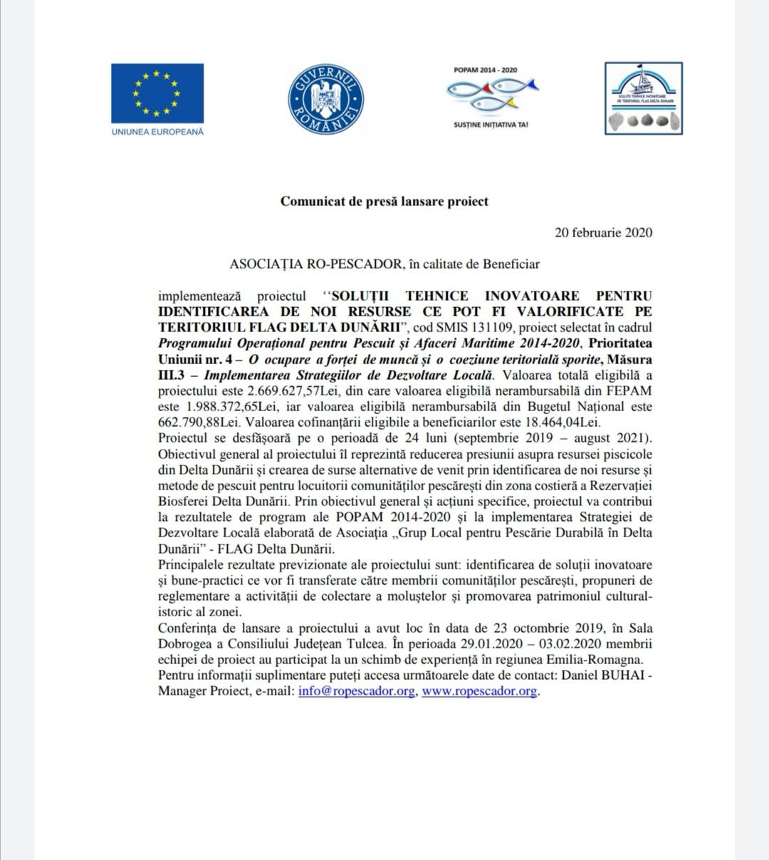 Comunicat de presă lansare proiect Asociația RO-PESCADOR