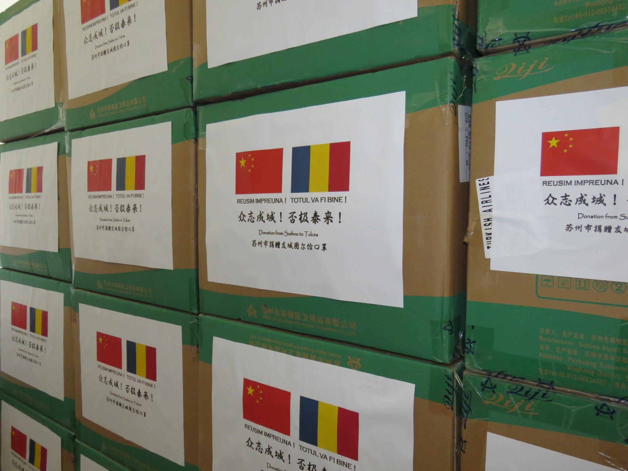 Măștile de protecție donate de Municipalitatea Suzhou, China au ajuns la Tulcea