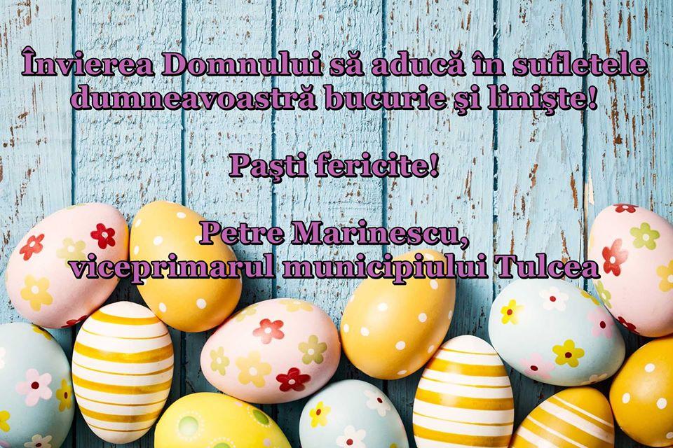 Viceprimarul Petre Marinescu vă urează un paște fericit!