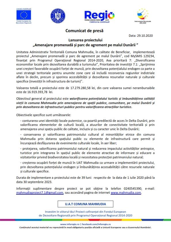 """Anunț public: Lansarea proiectului """" Amenajare promenadă și parc de agrement pe malul Dunării"""""""
