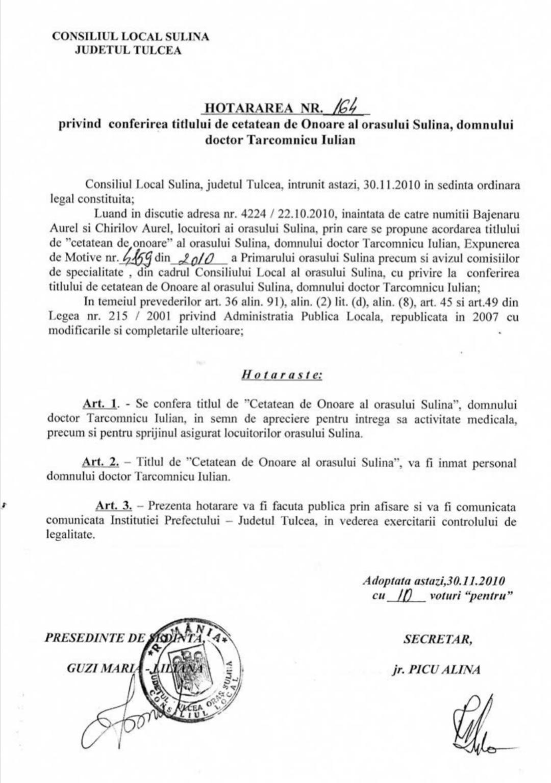 A murit un cetățean de onoare al orașului Sulina, doctorul Țârcomnicu