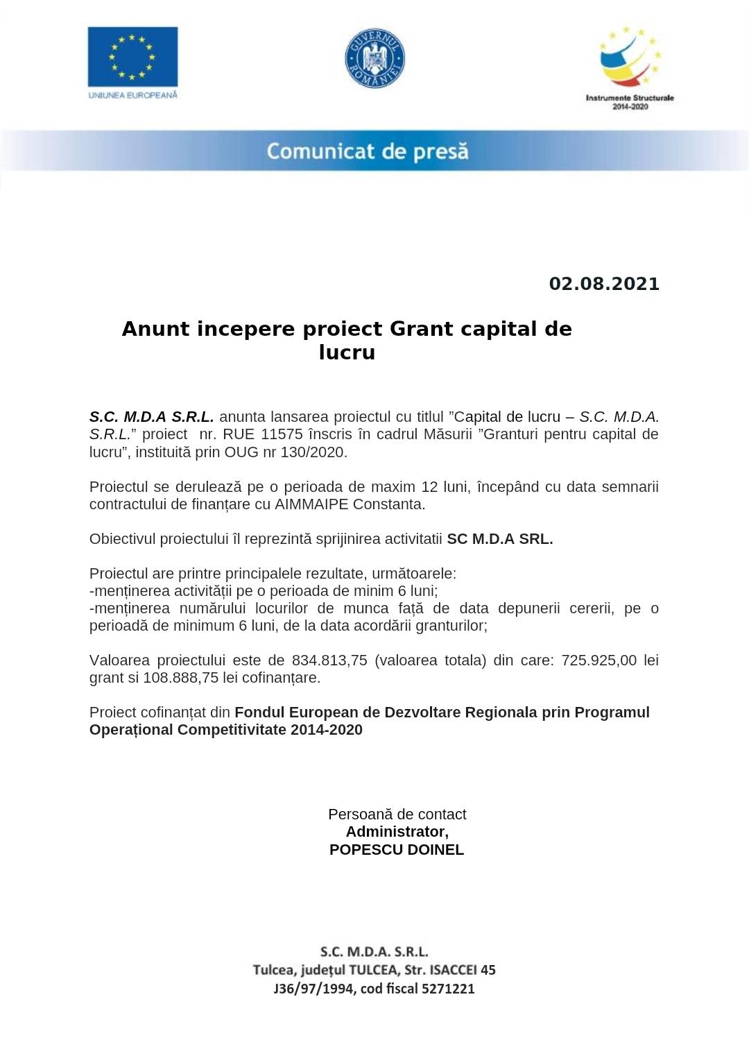 Anunț începere proiect Grant capital de lucru