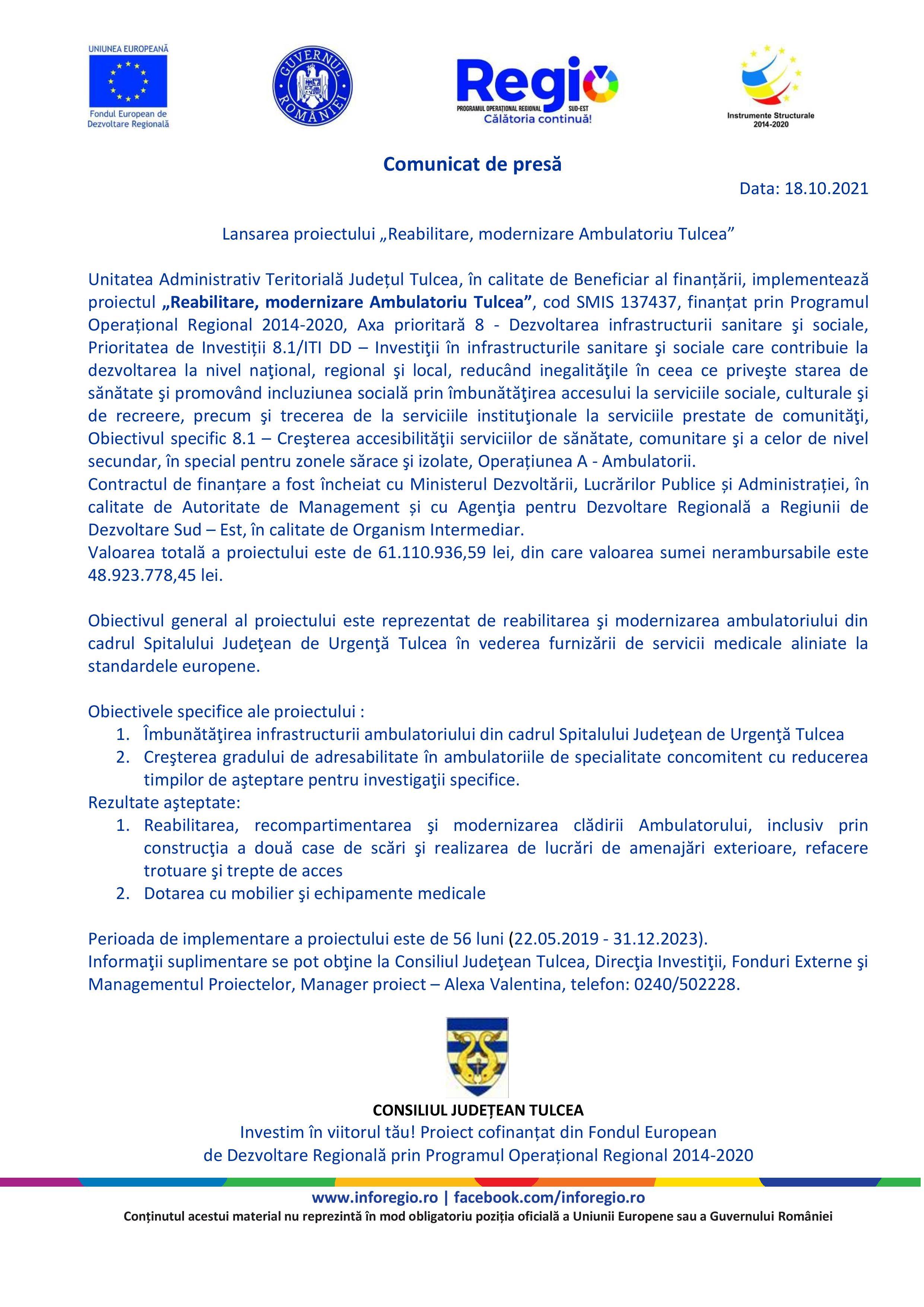 """Lansarea proiectului """"Reabilitare, modernizare Ambulatoriu Tulcea"""""""